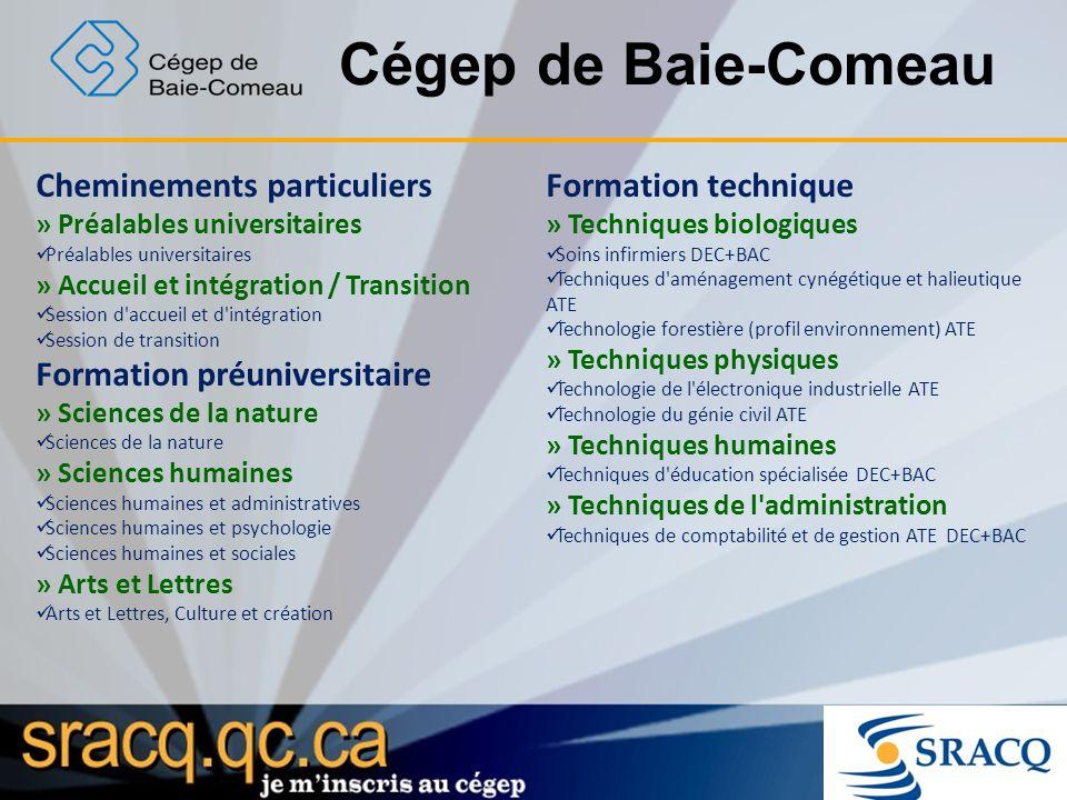 Cégep de Baie-Comeau Cheminements particuliers Formation technique