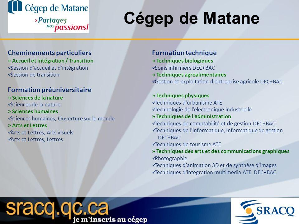 Cégep de Matane Cheminements particuliers Formation technique