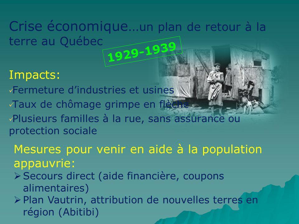 Crise économique…un plan de retour à la terre au Québec