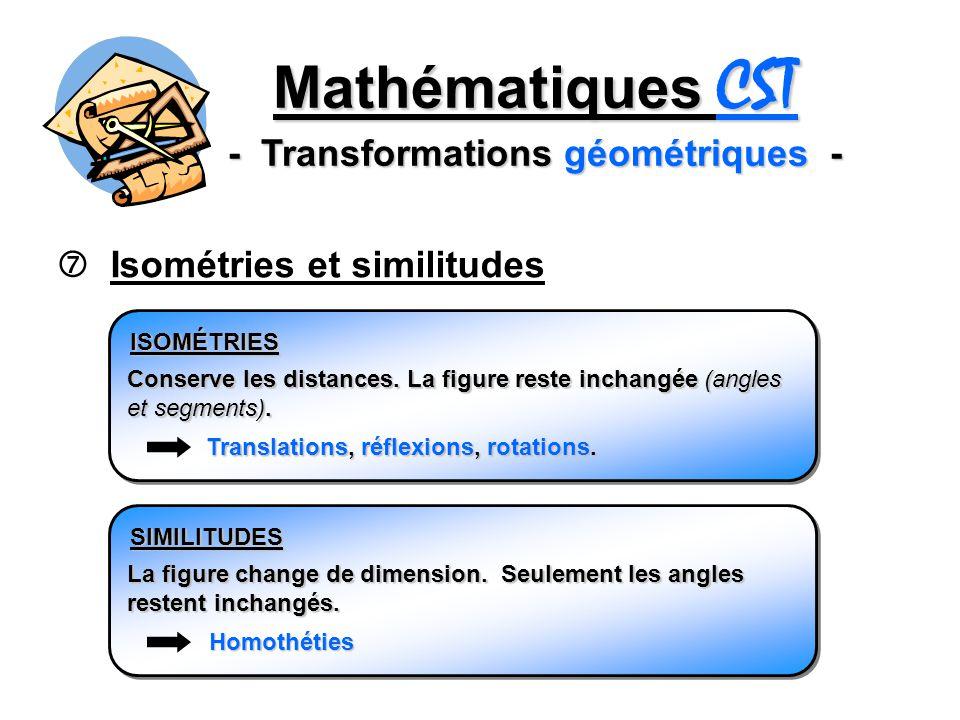 Mathématiques CST - Transformations géométriques -