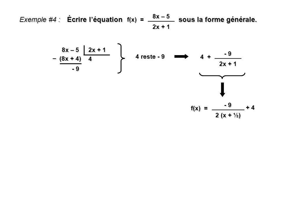 Écrire l'équation sous la forme générale.