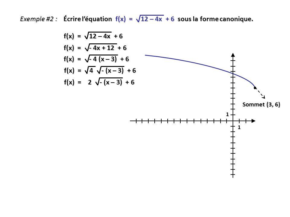 Écrire l'équation f(x) = 12 – 4x + 6 sous la forme canonique.