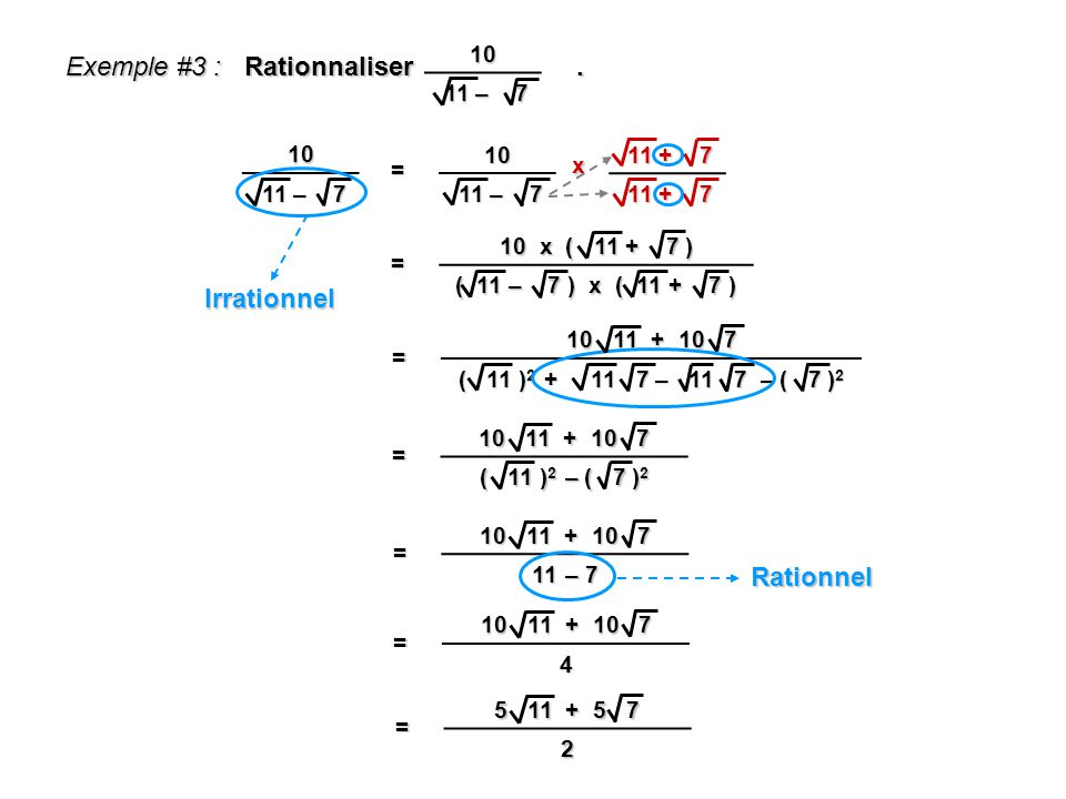 Exemple #3 : Rationnaliser . Irrationnel Rationnel 10 11 – 7 10 11 – 7