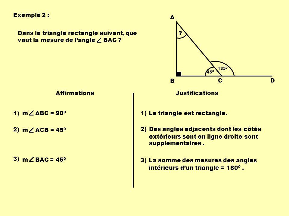 Dans le triangle rectangle suivant, que vaut la mesure de l'angle