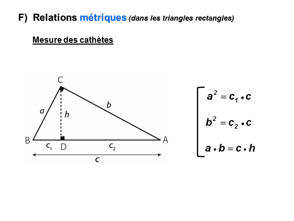 F) Relations métriques (dans les triangles rectangles)