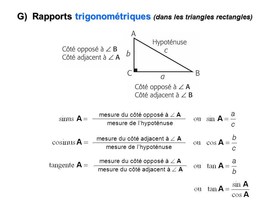 G) Rapports trigonométriques (dans les triangles rectangles)