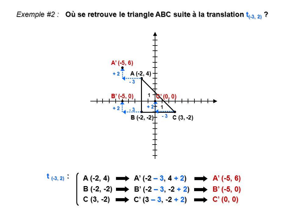 Où se retrouve le triangle ABC suite à la translation t(-3, 2)