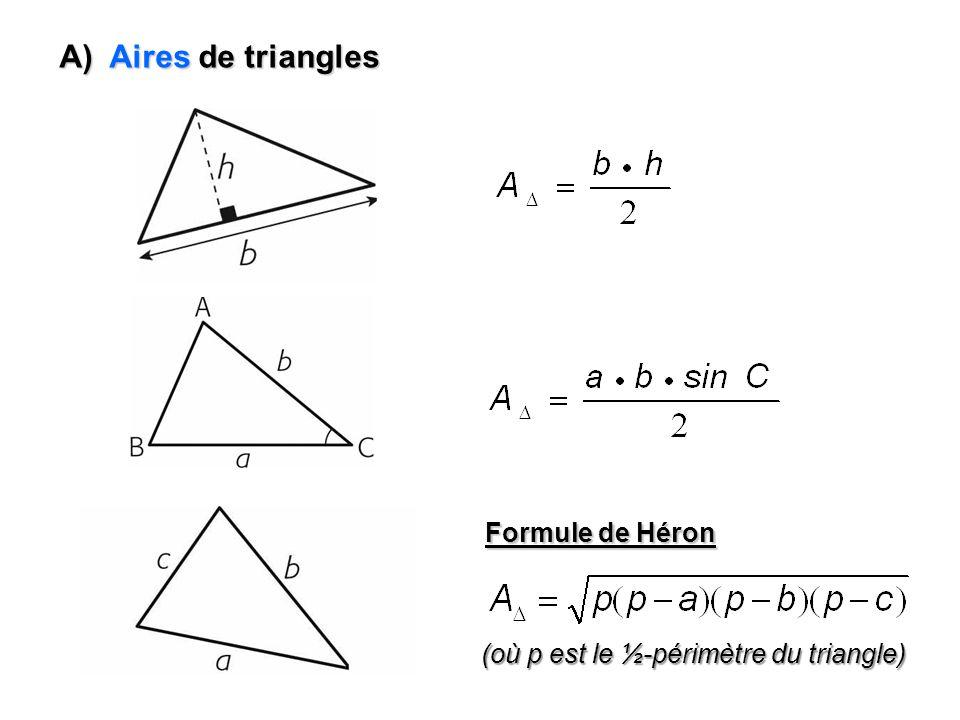 A) Aires de triangles Formule de Héron
