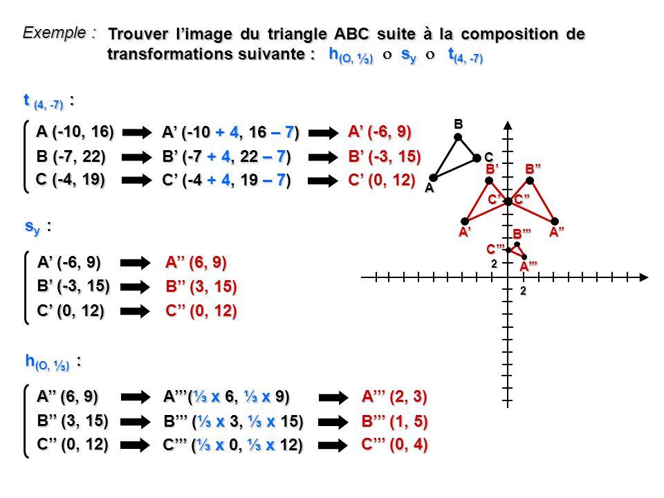Exemple : Trouver l'image du triangle ABC suite à la composition de transformations suivante : h(O, ⅓)  sy  t(4, -7)
