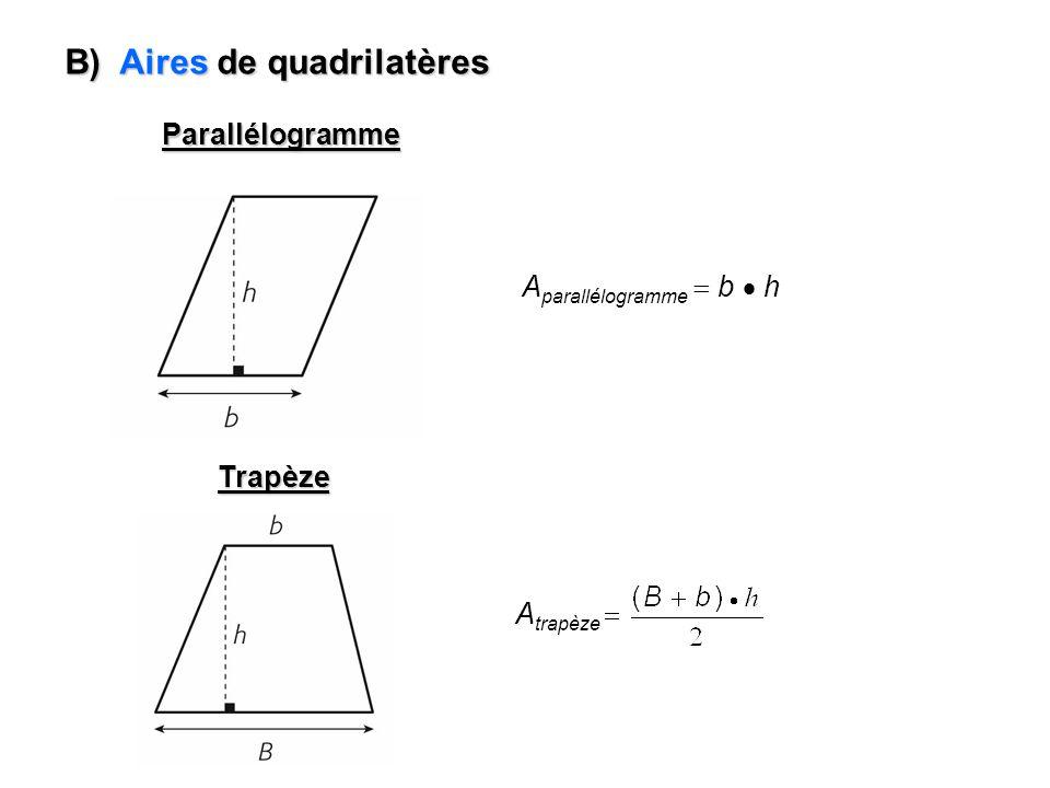 B) Aires de quadrilatères