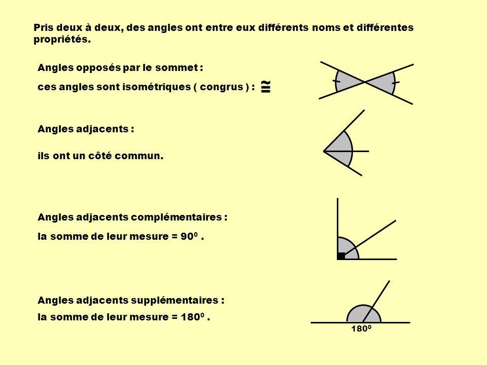 Pris deux à deux, des angles ont entre eux différents noms et différentes propriétés.