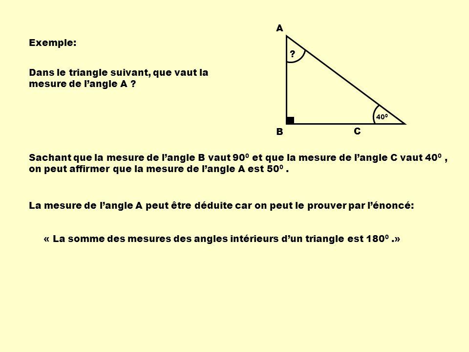 Dans le triangle suivant, que vaut la mesure de l'angle A