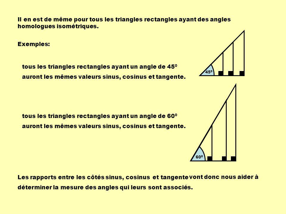 tous les triangles rectangles ayant un angle de 450