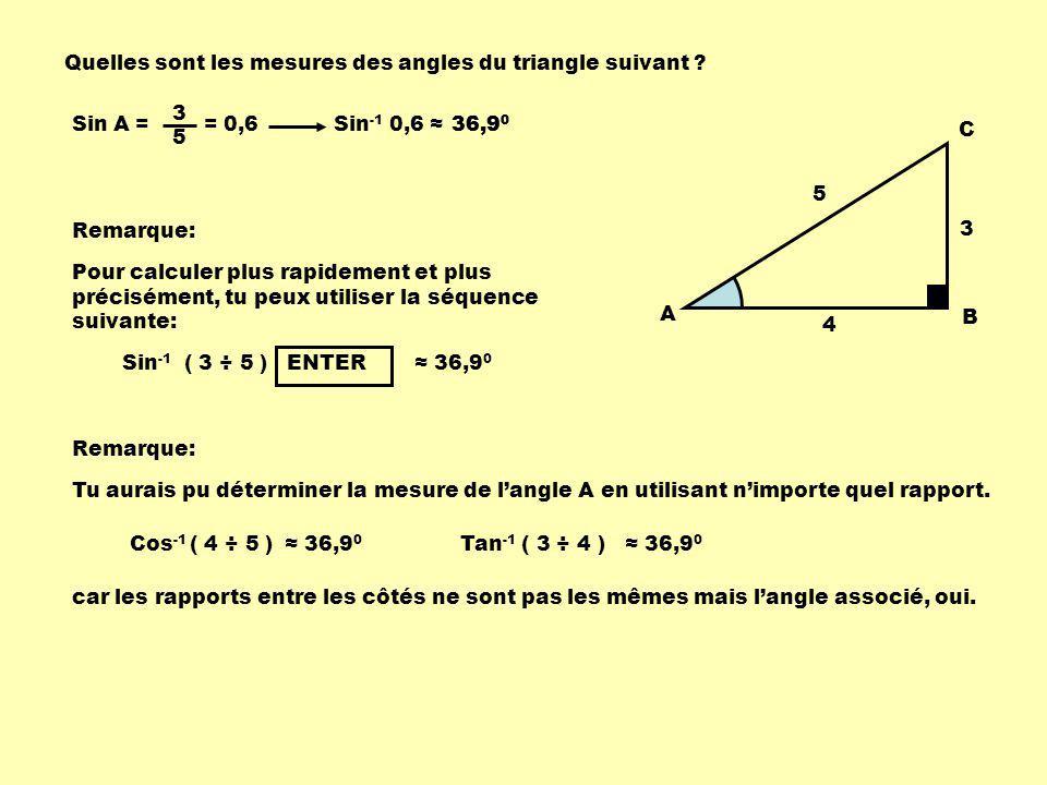Quelles sont les mesures des angles du triangle suivant