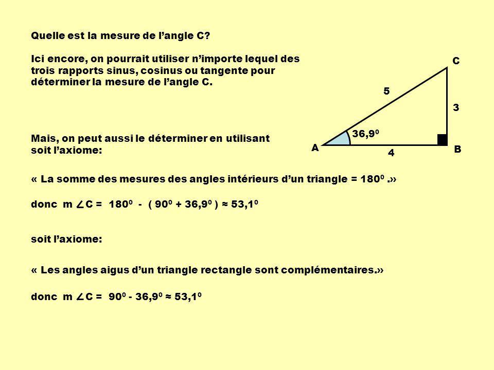 Quelle est la mesure de l'angle C