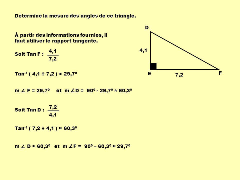 Détermine la mesure des angles de ce triangle.