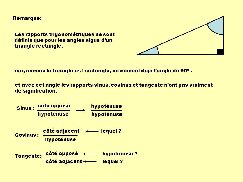 Remarque: Les rapports trigonométriques ne sont définis que pour les angles aigus d'un triangle rectangle,