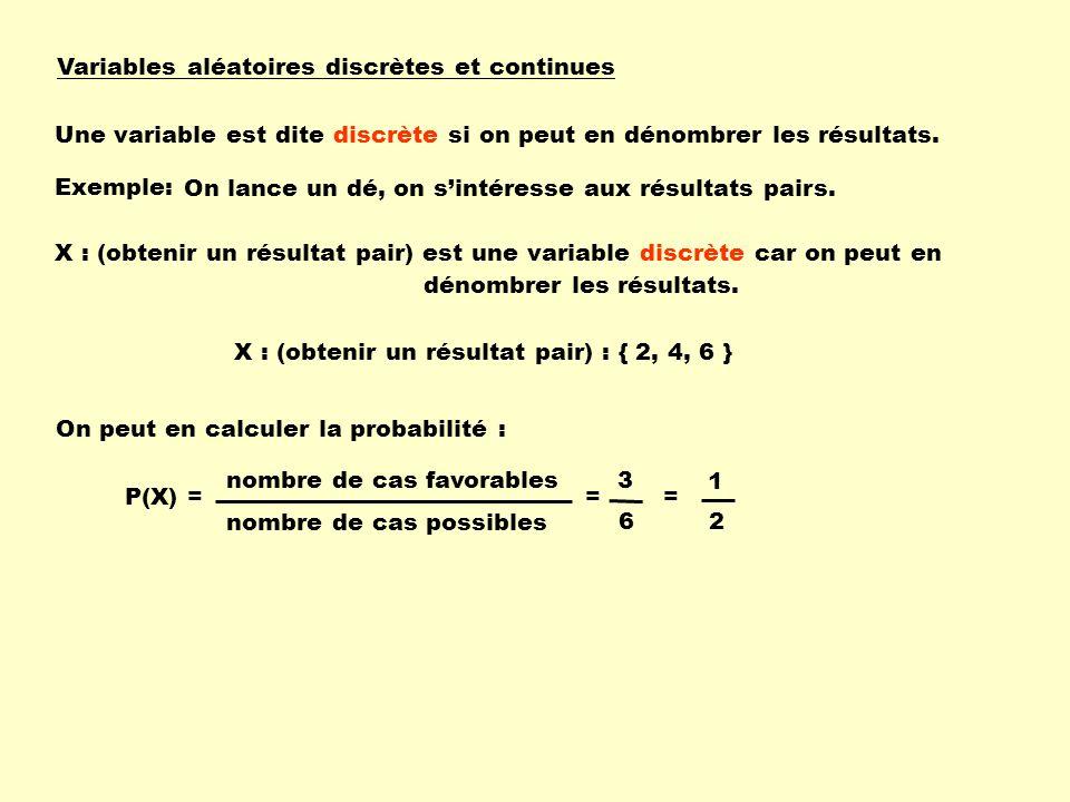 Variables aléatoires discrètes et continues