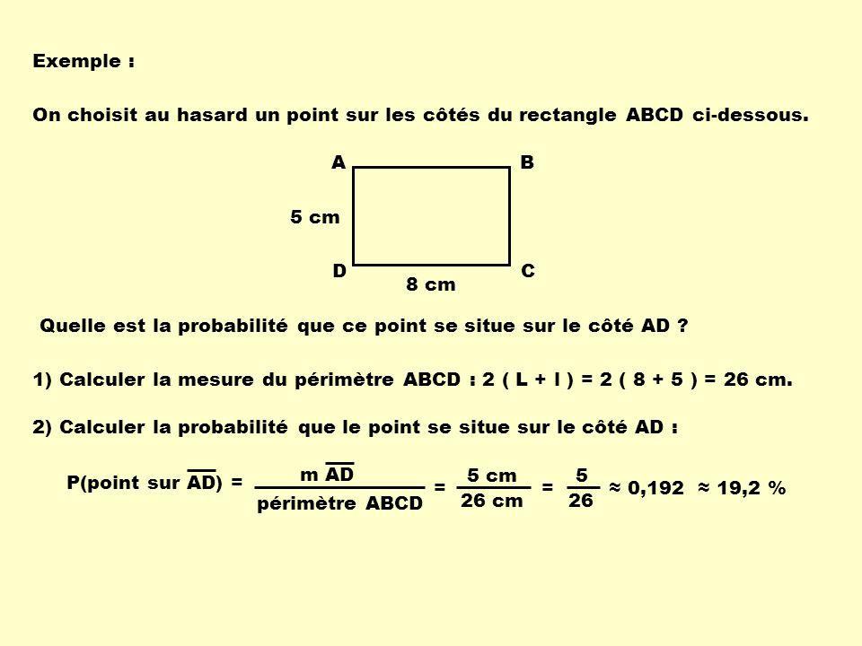 Exemple : On choisit au hasard un point sur les côtés du rectangle ABCD ci-dessous. A. D. B. C.
