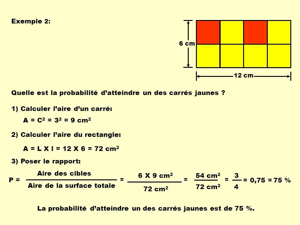 Quelle est la probabilité d'atteindre un des carrés jaunes