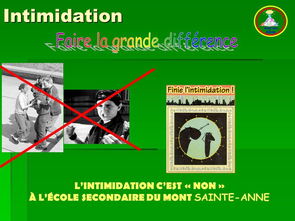 L'INTIMIDATION C'EST « NON » À L'ÉCOLE SECONDAIRE DU MONT SAINTE-ANNE