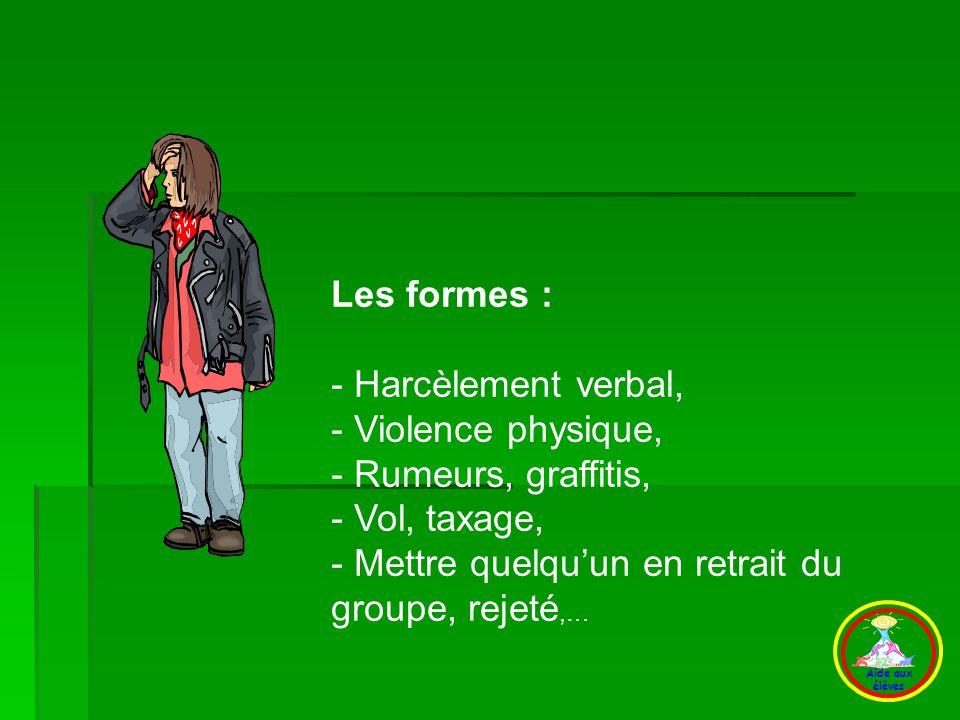 D) Les formes Les formes : - Harcèlement verbal, - Violence physique,