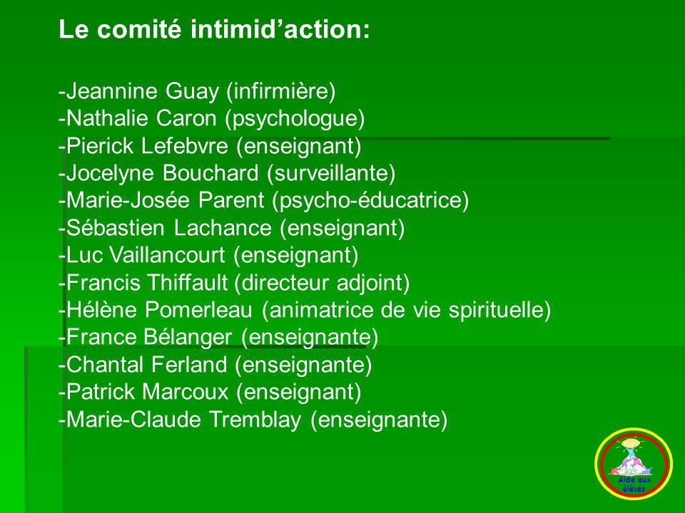 D) Le comité Le comité intimid'action: -Jeannine Guay (infirmière)