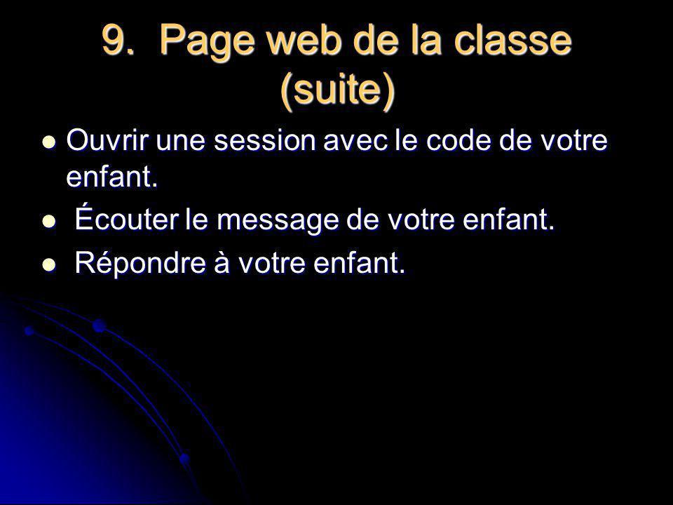 9. Page web de la classe (suite)
