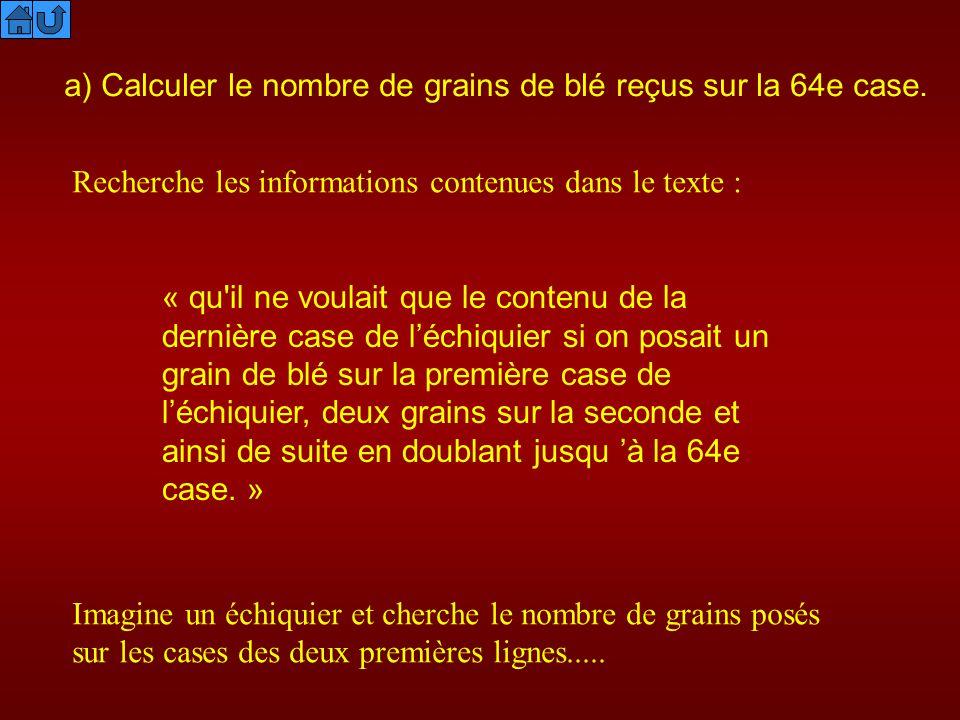 a) Calculer le nombre de grains de blé reçus sur la 64e case.