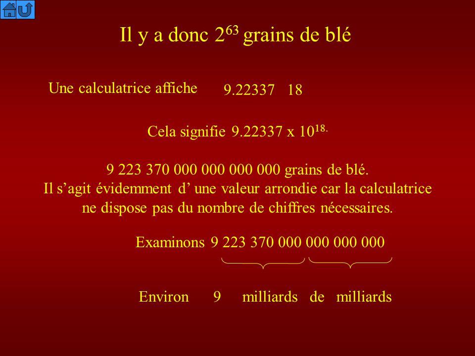 Il y a donc 263 grains de blé Une calculatrice affiche 9.22337 18