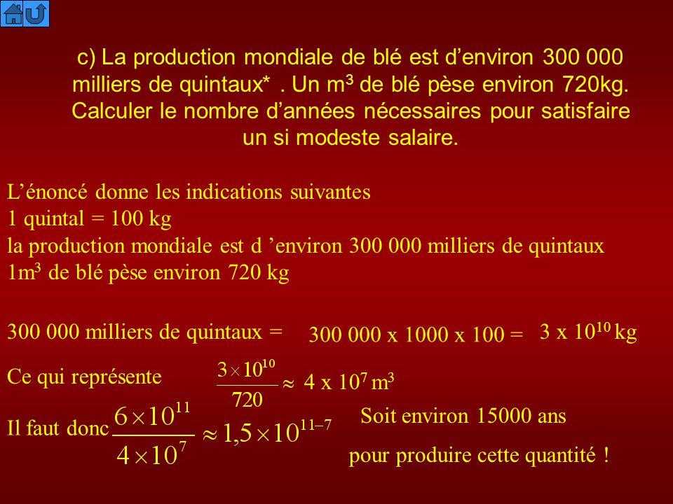 c) La production mondiale de blé est d'environ 300 000 milliers de quintaux* . Un m3 de blé pèse environ 720kg. Calculer le nombre d'années nécessaires pour satisfaire un si modeste salaire.