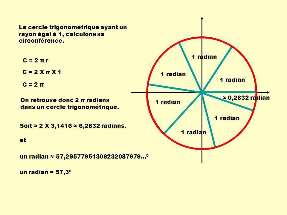 Le cercle trigonométrique ayant un rayon égal à 1, calculons sa circonférence.