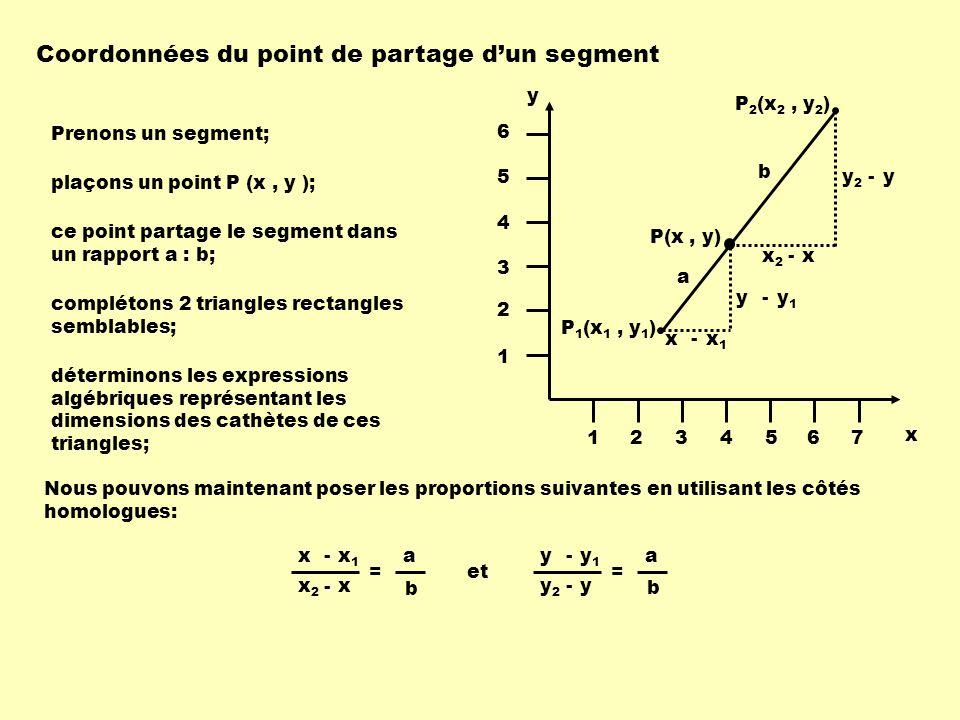 Coordonnées du point de partage d'un segment