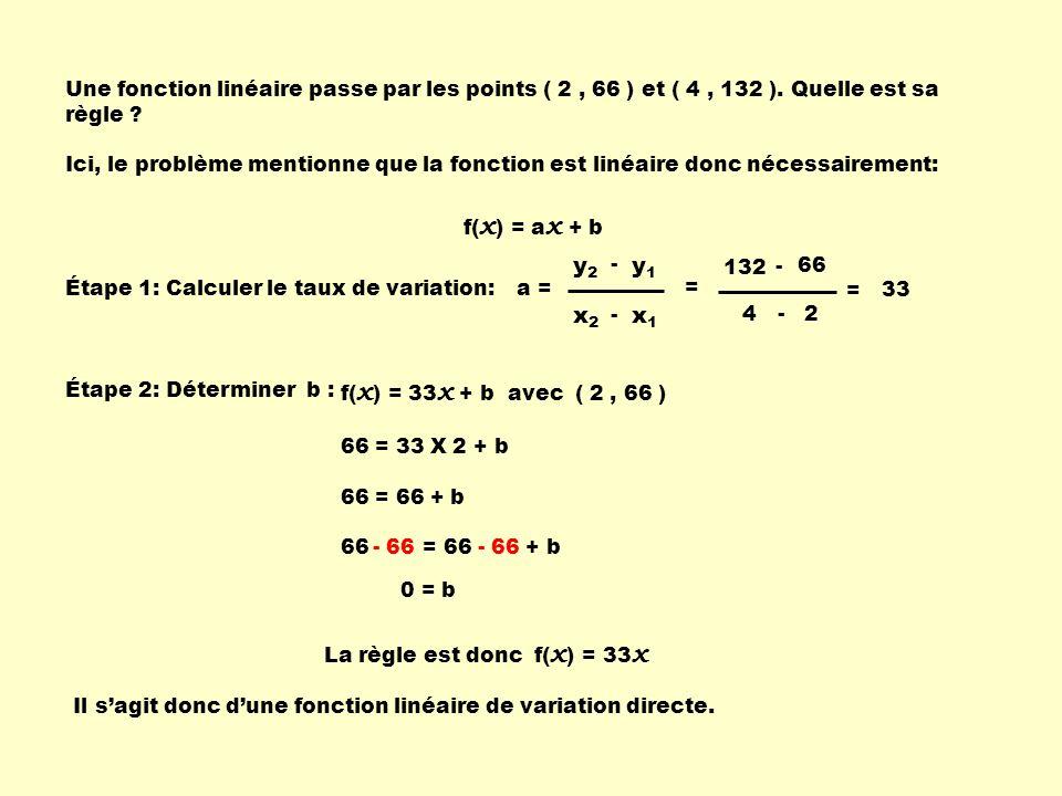 Une fonction linéaire passe par les points ( 2 , 66 ) et ( 4 , 132 )