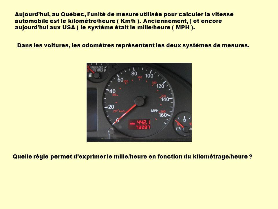 Aujourd'hui, au Québec, l'unité de mesure utilisée pour calculer la vitesse automobile est le kilomètre/heure ( Km/h ). Anciennement, ( et encore aujourd'hui aux USA ) le système était le mille/heure ( MPH ).