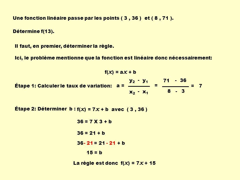 Une fonction linéaire passe par les points ( 3 , 36 ) et ( 8 , 71 ).