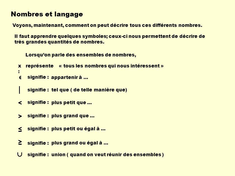 Nombres et langage < > ≤ ≥