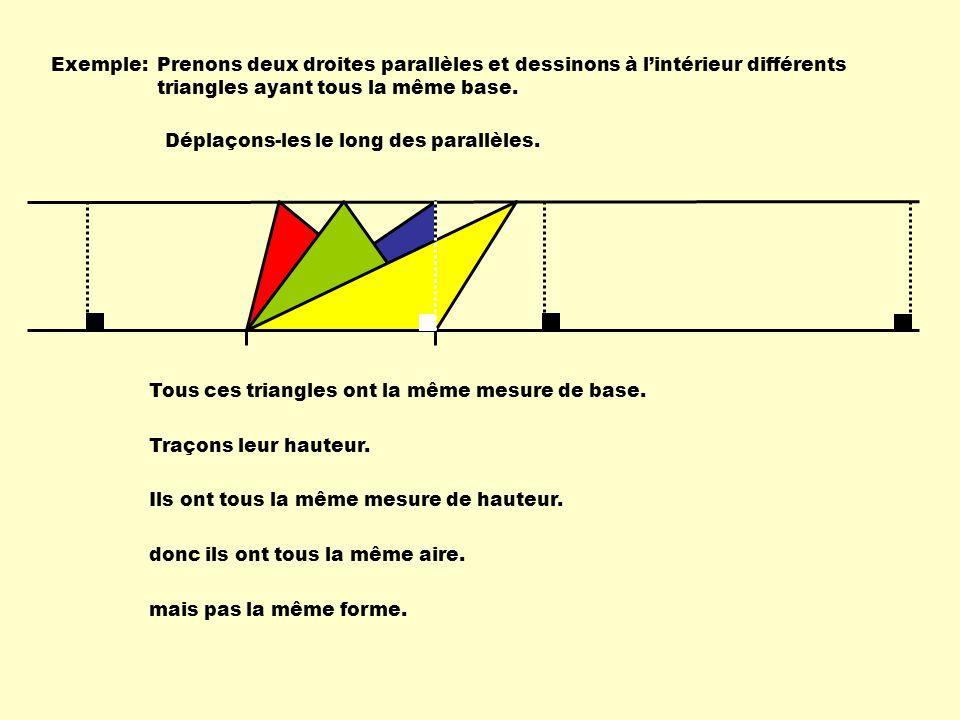 Exemple: Prenons deux droites parallèles et dessinons à l'intérieur différents triangles ayant tous la même base.