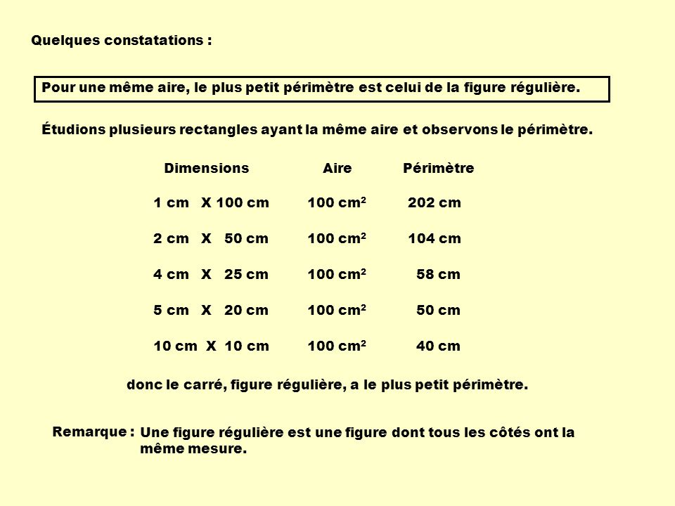 Quelques constatations :