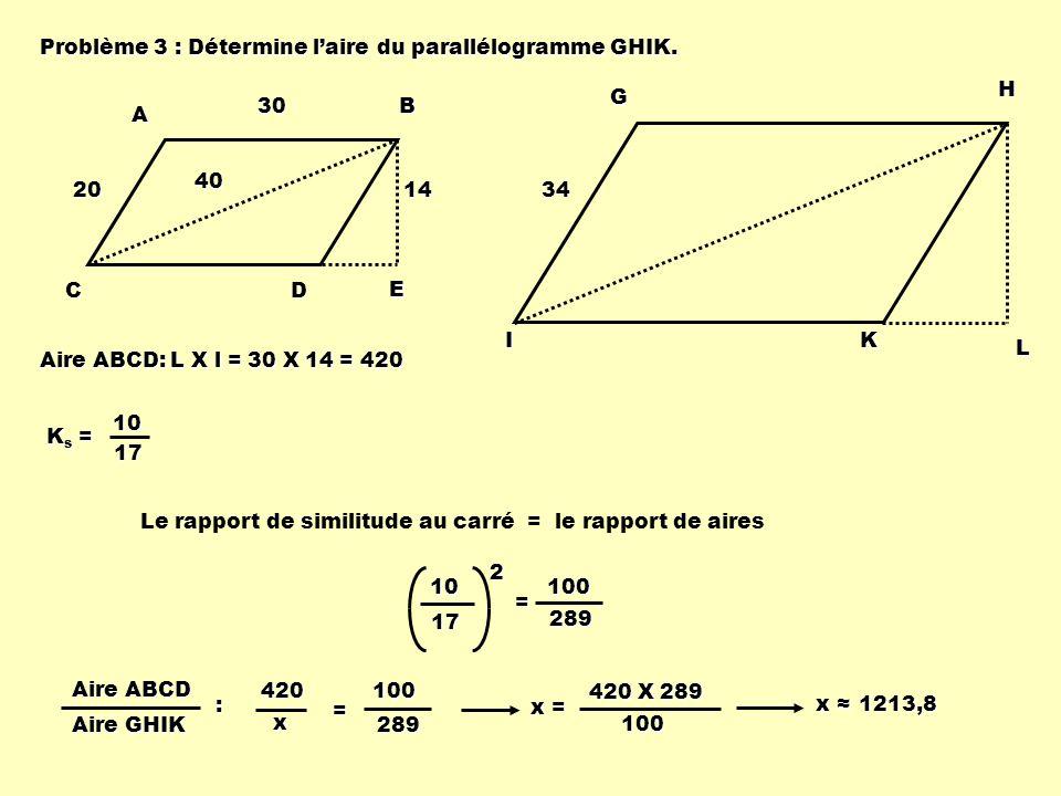Problème 3 : Détermine l'aire du parallélogramme GHIK.
