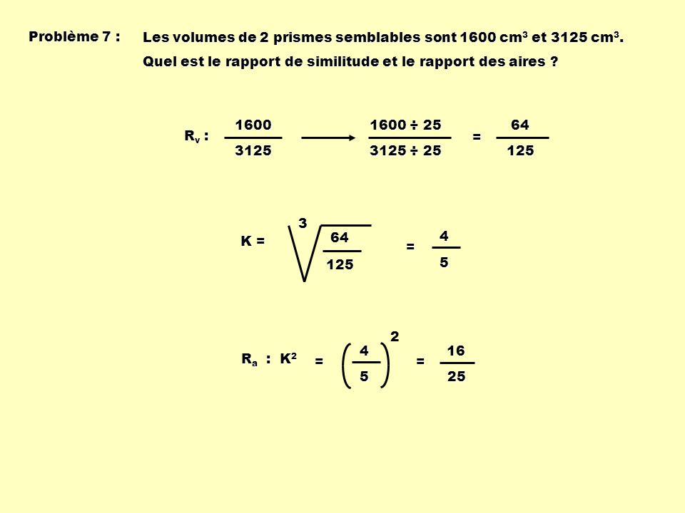 Problème 7 : Les volumes de 2 prismes semblables sont 1600 cm3 et 3125 cm3. Quel est le rapport de similitude et le rapport des aires