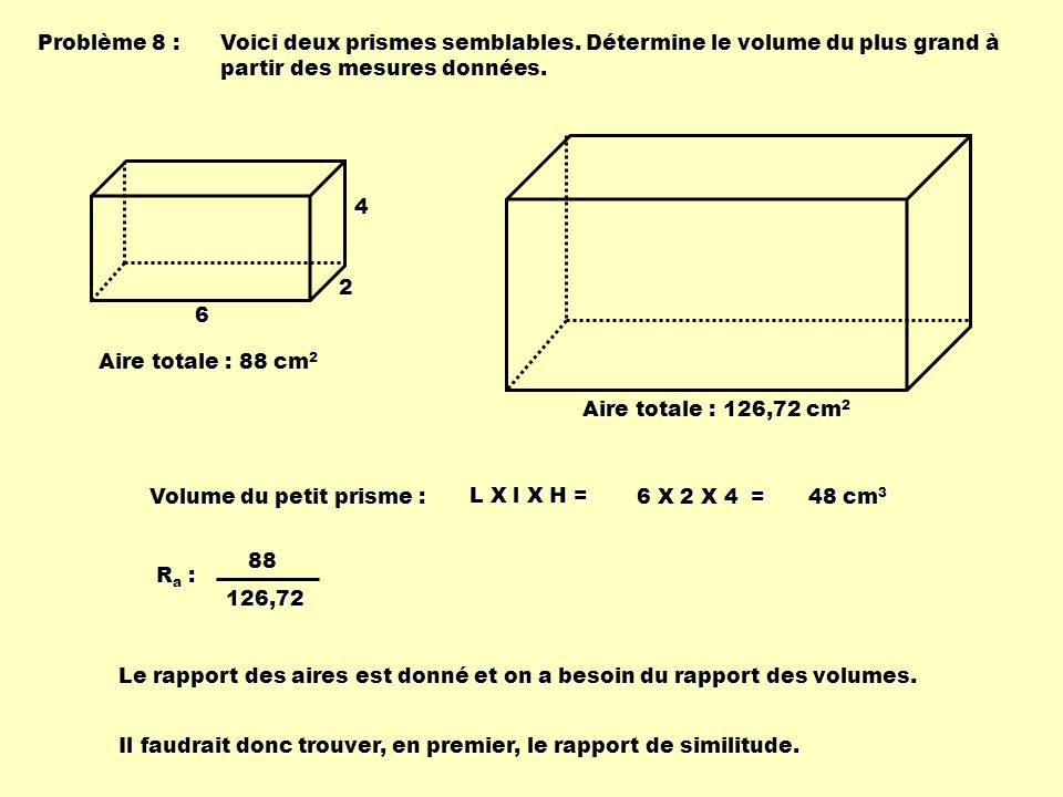 Problème 8 : Voici deux prismes semblables. Détermine le volume du plus grand à partir des mesures données.