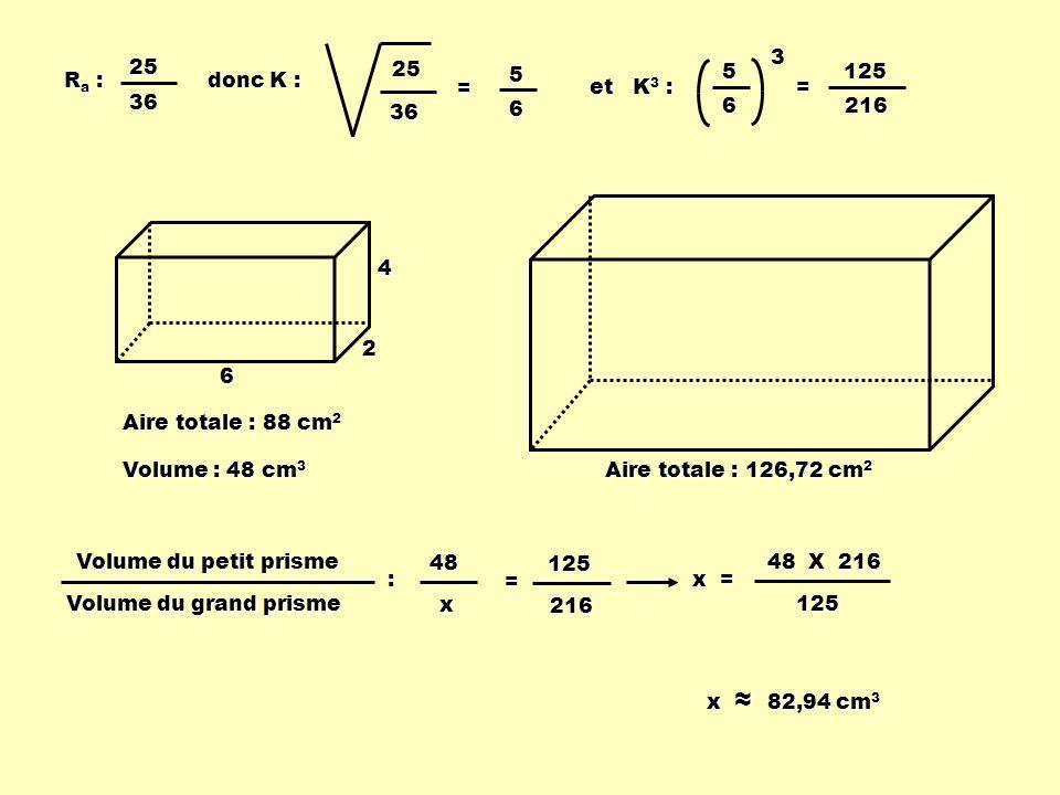 25 36. = et K3 : 5. 6. 3. = Ra : 25. 36. 5. 6. 125. 216. donc K : 4. 2. 6. Aire totale : 88 cm2.