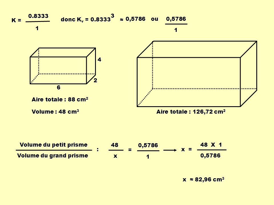 0.8333 1. K = donc Kv = 0.8333. 3. ≈ 0,5786. ou. 0,5786. 1. 4. 2. 6. Aire totale : 88 cm2.