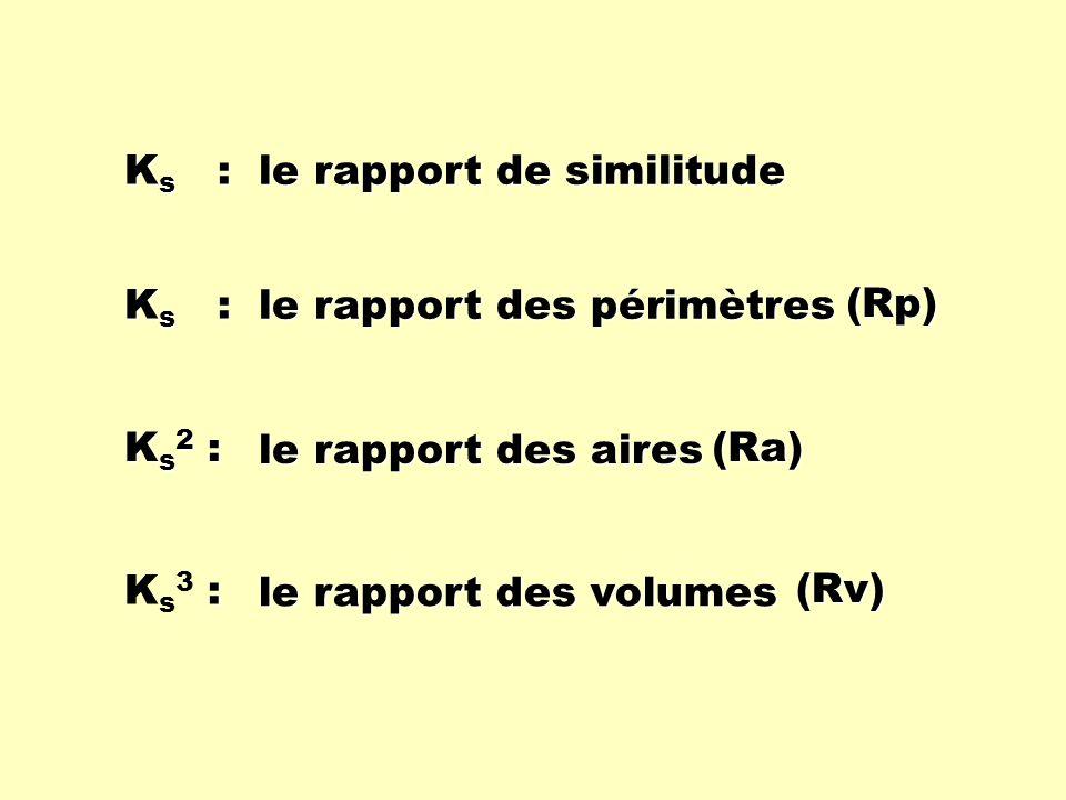 Ks : le rapport de similitude. Ks : le rapport des périmètres. (Rp) Ks2 : le rapport des aires.