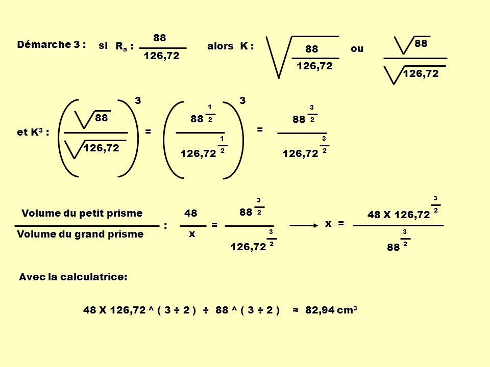 Ra : 88. 126,72. si. Démarche 3 : alors K : 88. 126,72. ou. 126,72. 88. et K3 : 126,72.