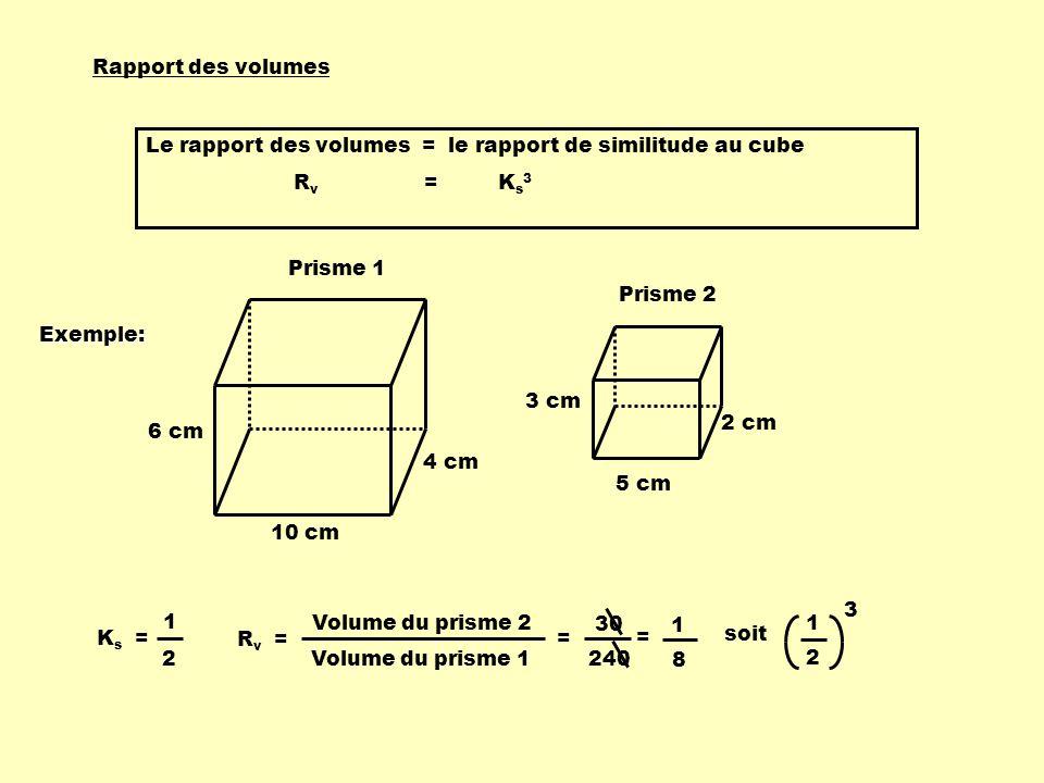 Rapport des volumes Le rapport des volumes = le rapport de similitude au cube. Rv = Ks3.