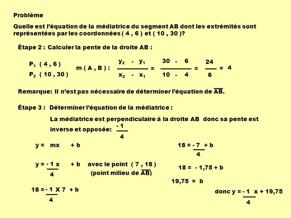 Problème Quelle est l'équation de la médiatrice du segment AB dont les extrémités sont représentées par les coordonnées ( 4 , 6 ) et ( 10 , 30 )