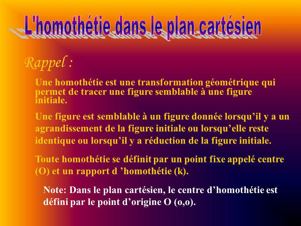 L homothétie dans le plan cartésien