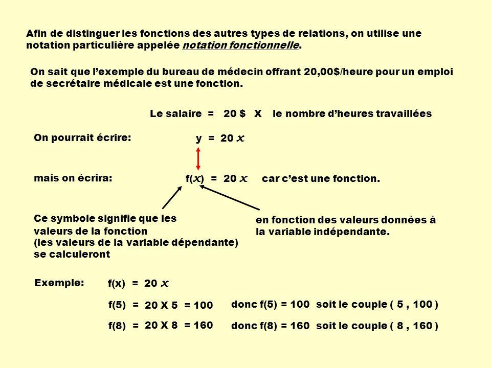 Afin de distinguer les fonctions des autres types de relations, on utilise une notation particulière appelée notation fonctionnelle.